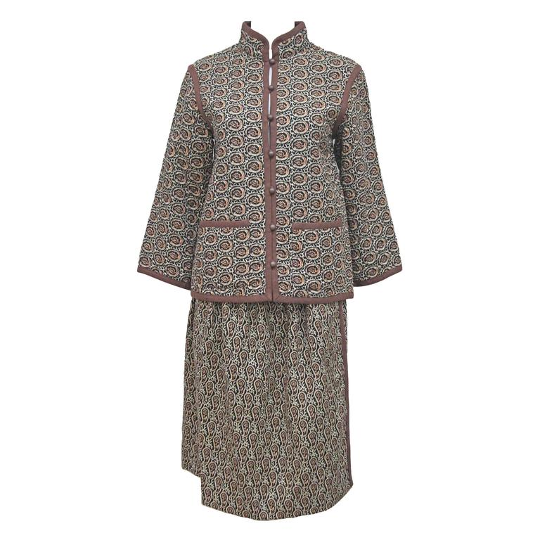 1970s Yves Saint Laurent Quilted Paisley Skirt Suit  1