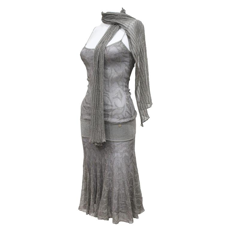 Chanel 1920s style flapper dress with scarf