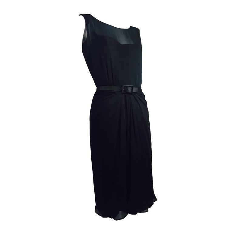 1950s James Galanos Little Black Dress in Silk Chiffon w/ Front Draping For Sale