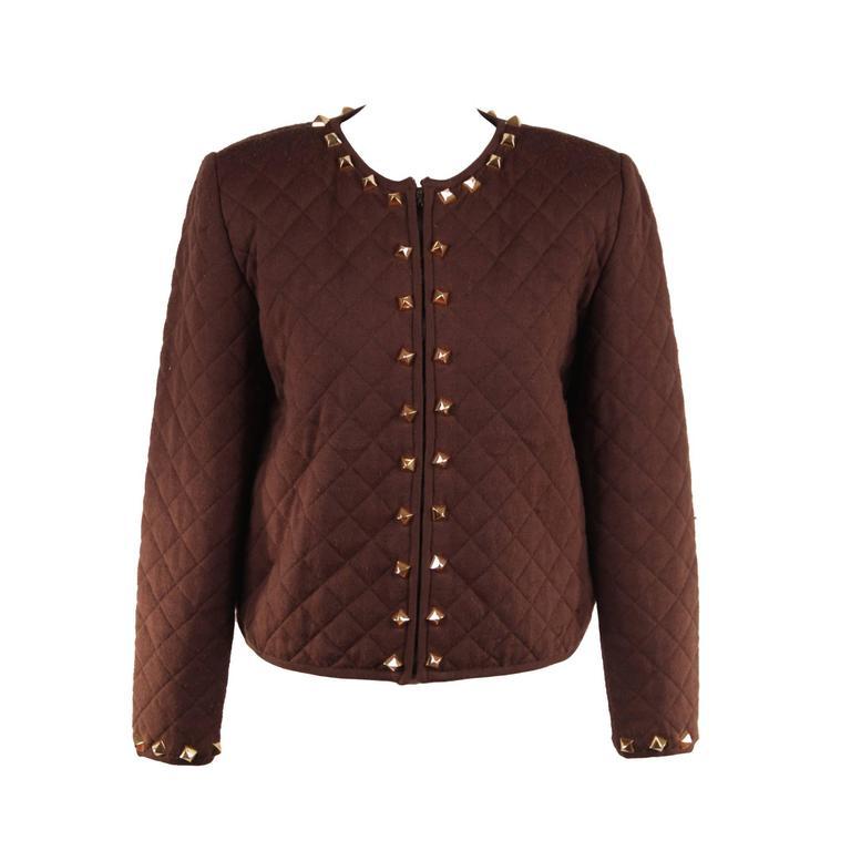 HERMES PARIS Vintage Brown QUILTED New Wool Collarless JACKET w/ SPIKES Sz 40