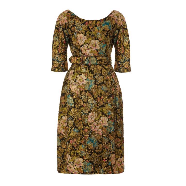 1950s Suzy Perette Floral Gold Lame Dress 1