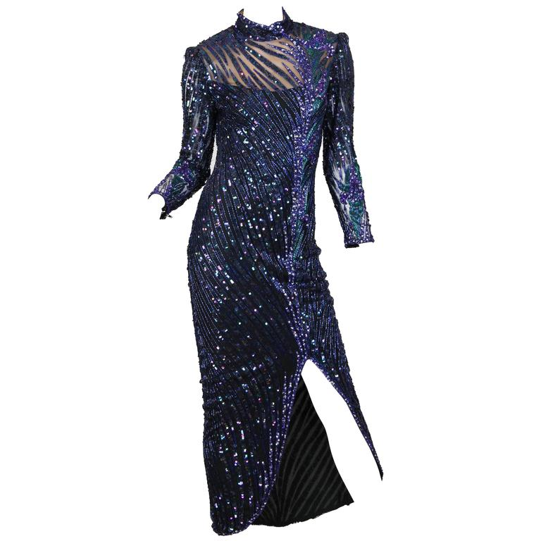 Bob Mackie Beaded Gown For Sale at 1stdibs