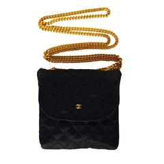 Chanel Black Quilted Satin Mini Bag/Necklace GHW