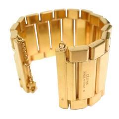 Celine Gold Tone Chain Link Cuff Bracelet