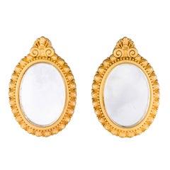 Karl Lagerfeld Gold Tone Mirror Earrings, 1990s