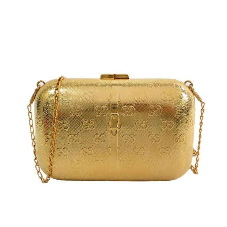 086b793b96e Gucci Gold Tone Metal Minaudière Chain Shoulder Bag Clutch at 1stdibs