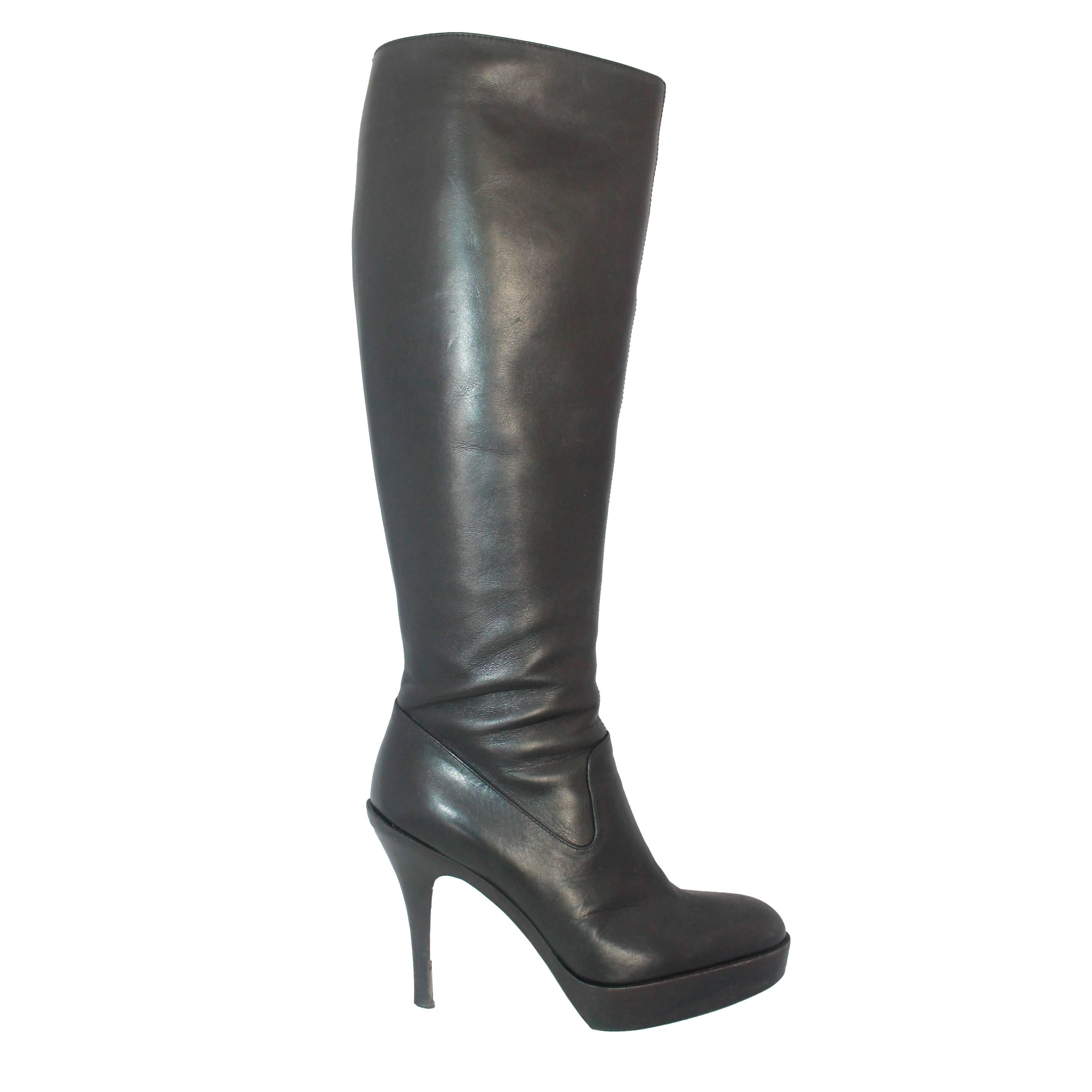 14438f9a374 Yves Saint Laurent Tan Knee High Boots