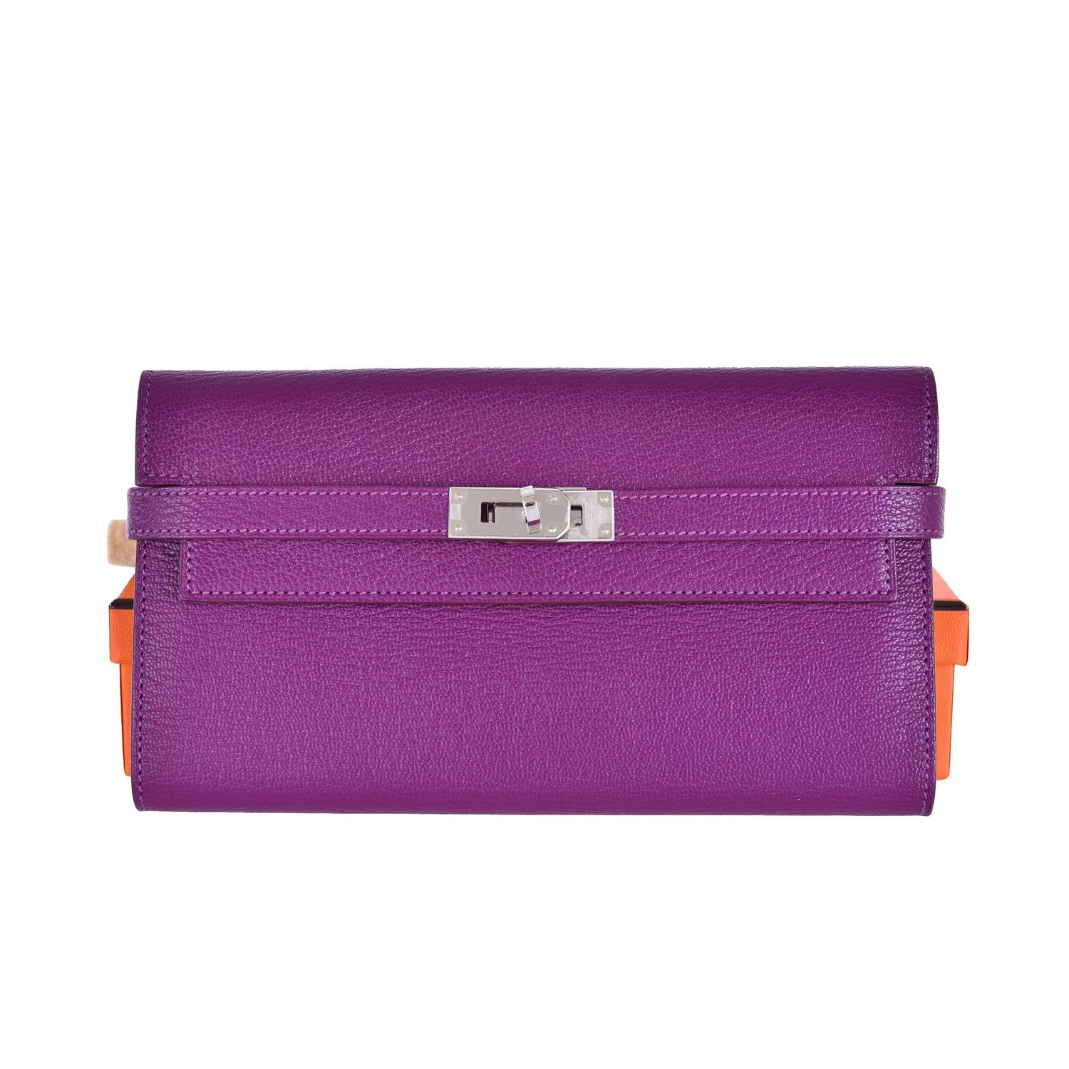 best affordable purses - NEW HERMES KELLY LONGUE WALLET ANEMONE / CLUTCH CHEVRE LEATHER ...
