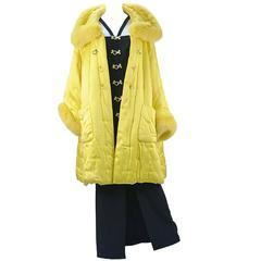 Mario Borsato Couture Black Dress and Yellow Coat Ensemble