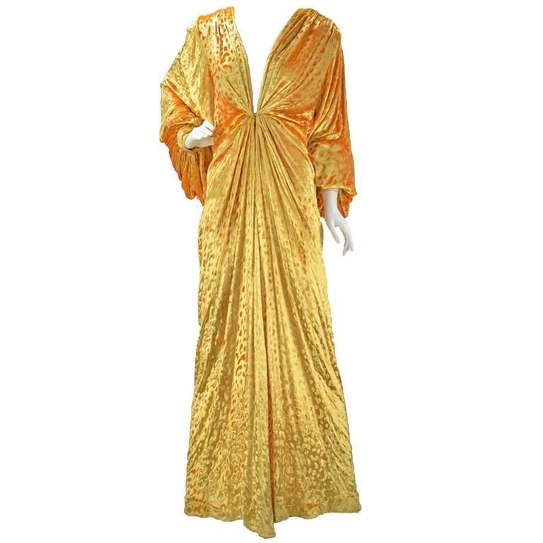 1980s Renato Balestra Attr. Goldenrod Ruched Velvet Gown For Sale