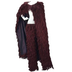 Mila Schon Burgundy Silk Fringe Cape with Matching Fringe Pants