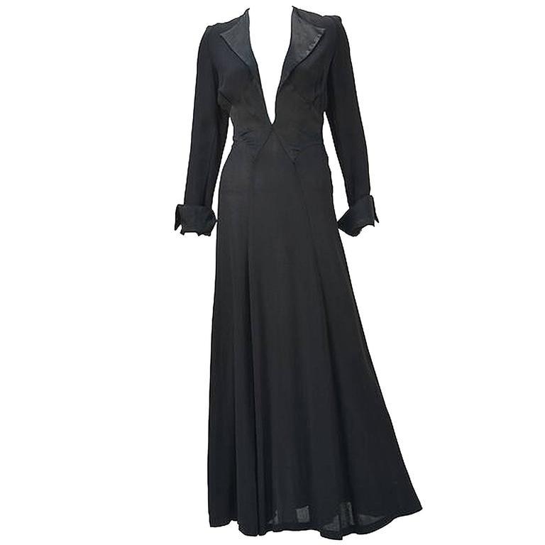 Ossie Clark for Radley Black Moss Crepe Plunge Dress, 1970s