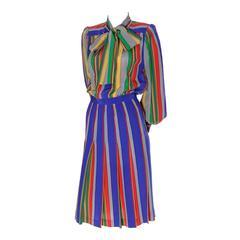 Vintage YSL Rive Gauche Silk Dress Stripes Yves Saint Laurent Paris 36 Bow
