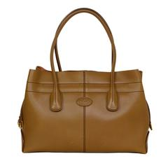 Tod's Tan Leather Drawstring Tote Bag GHW