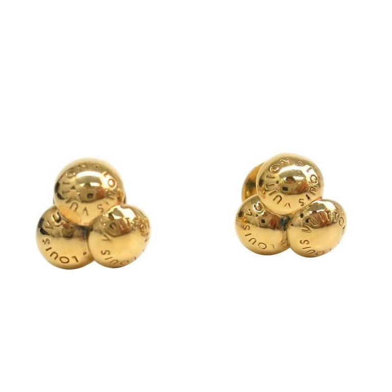 louis vuitton earrings mens. louis vuitton gold round ball men\u0027s logo cufflinks in leather storage case box 1 earrings mens
