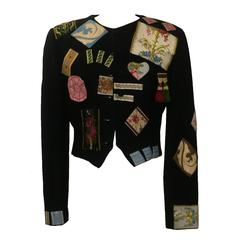Moschino Couture! 1988 Black Wool Patchwork Embellished Jacket