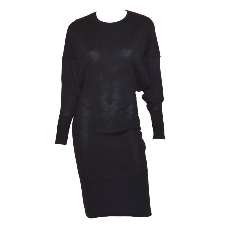 Vintage Alaia Black Wool Knit Dolman Sleeve Dress 1