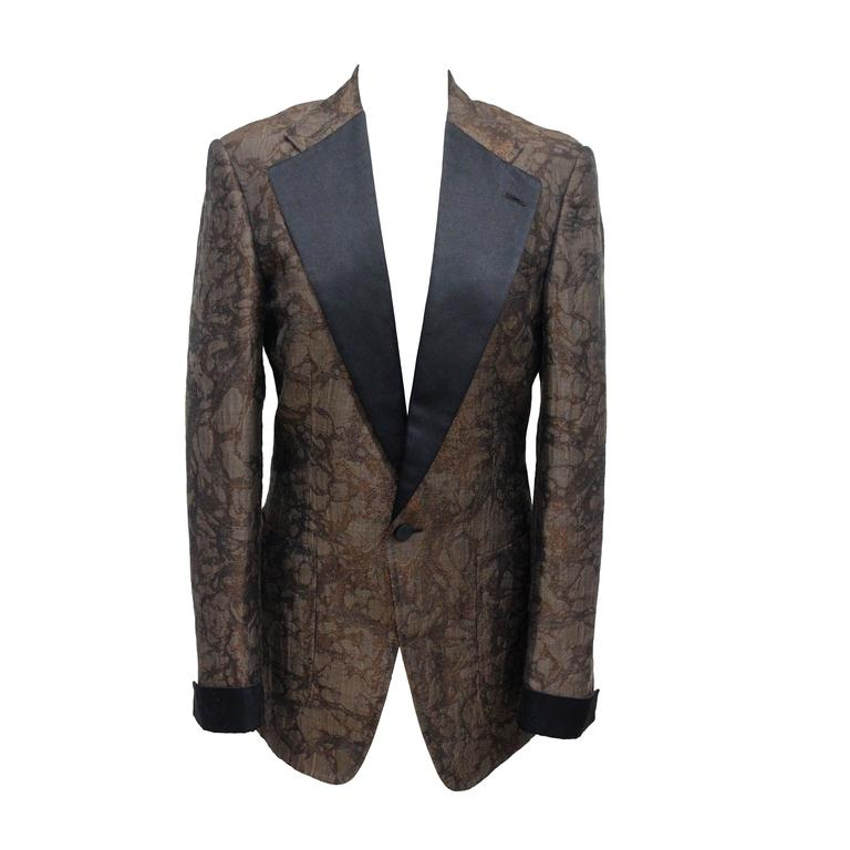 Tom Ford for Gucci mens silk brocade marbled tuxedo jacket c. 1990s  For Sale