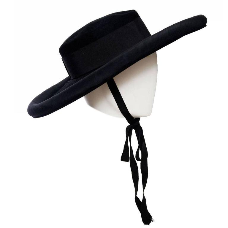 1980s Yves Saint Laurent Black Wide Brimmed Matador Hat 1