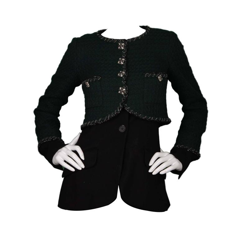 Chanel Green and Black Boucle Jacket sz 4 For Sale at 1stdibs