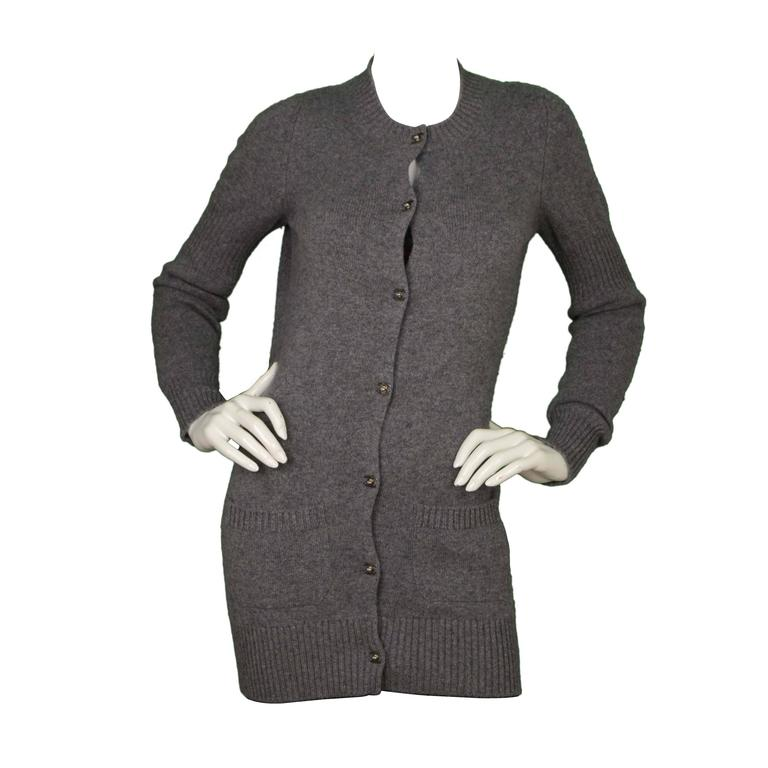 Chanel Grey Cashmere CC Button Long Cardigan Sweater sz 36 For Sale ... 1ed7e6ba7
