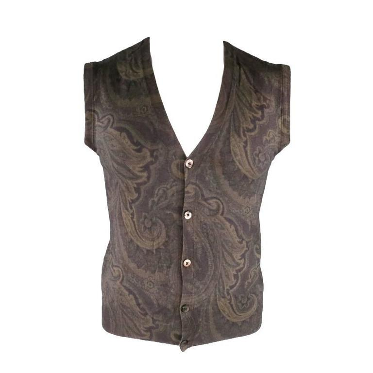 Etro Olive Silk / Wool Paisley Knit Sweater Vest