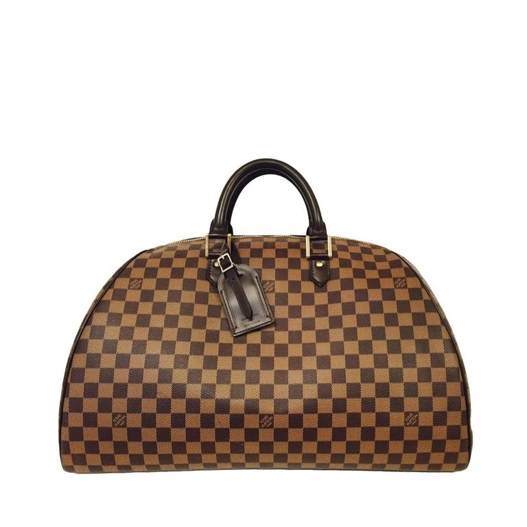 Louis Vuitton Damier Ebene Coated Canvas Ribera Weekender GM  For Sale
