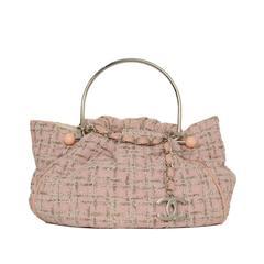 """Chanel Pink & Grey Tweed """"Knitting"""" Bag SHW"""