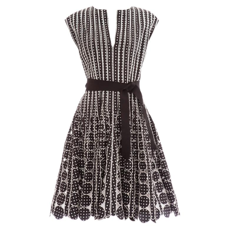 Oscar De la Renta Black Silk Faille With White Polka Dots Dress, Resort 2007 For Sale