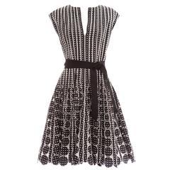 Oscar De la Renta Black Silk Faille With White Polka Dots Dress, Resort 2007