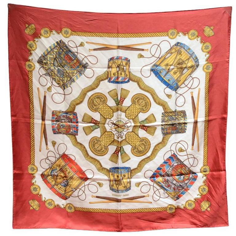 Hermes Vintage Les Tambours Silk Scarf in Red For Sale