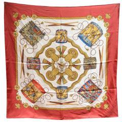 Hermes Vintage Les Tambours Silk Scarf in Red