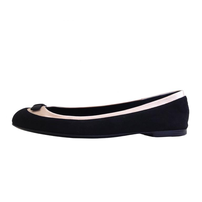 Giuseppe Zanotti Black and Pink Satin Ballerina Flats Size 38 (7.5) For Sale