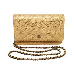 Chanel Gold Lizard Classic WOC Wallet on a Chain