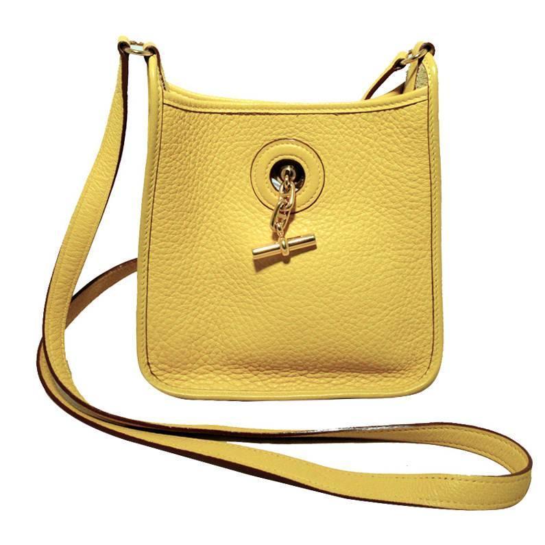 birkins bag price - Rare Hermes Yellow Clemence Leather TPM Mini Vespa Shoulder Bag ...