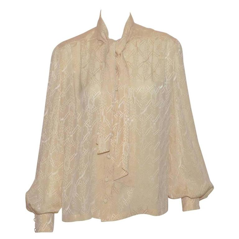 Hermes Tie Neck Silk Blouse