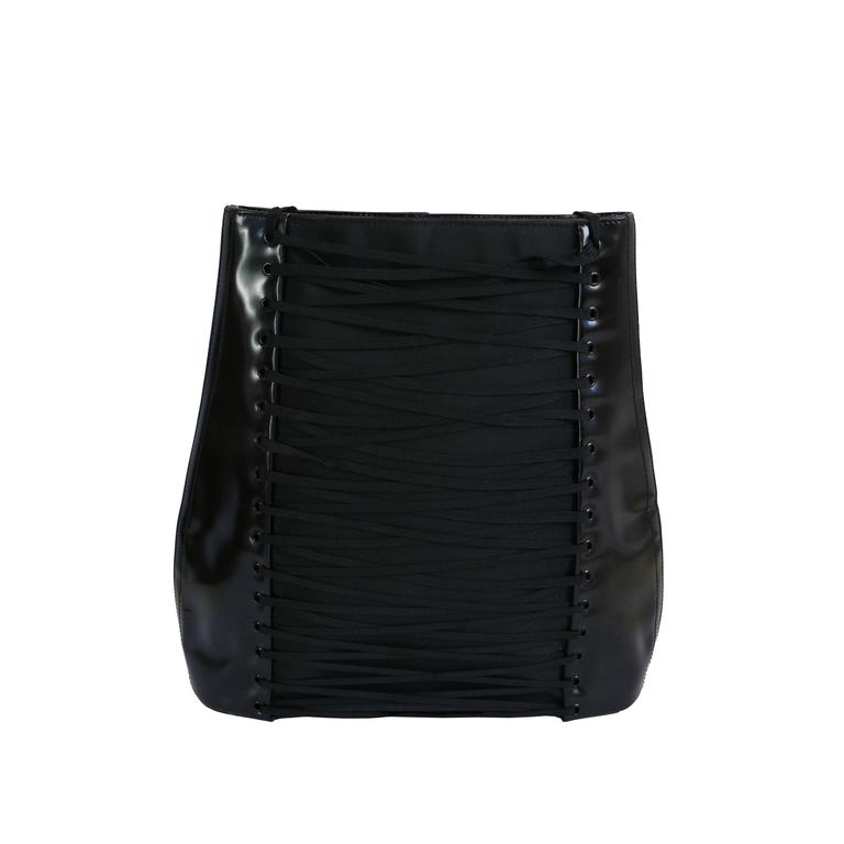 Jean Paul Gaultier Black Patent Iconic Corset Shoulder Bag