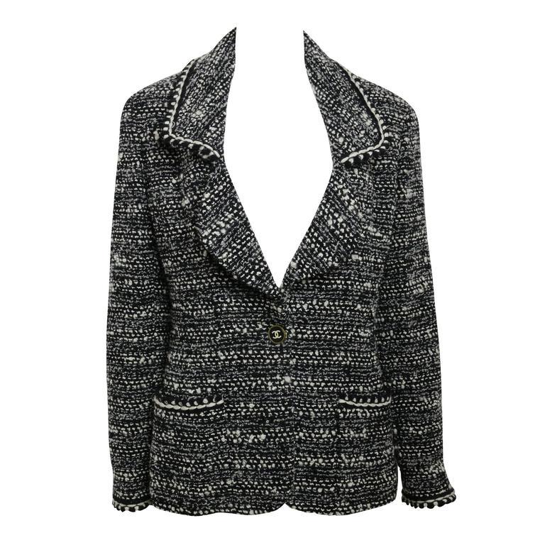 Chanel Classic Black White Wool Tweed Blazer