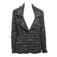 1994 Chanel Classic Black White Wool Tweed Blazer