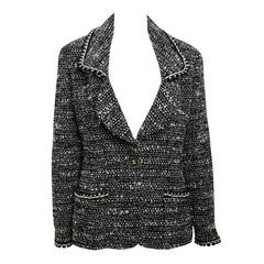 Chanel Classic Black White Wool Tweed Blazer