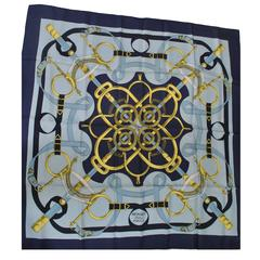 Hermes Eperon d'Or Blue Scarf
