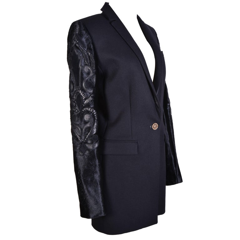Versace Black Coat with Embelisshed Sleeves For Sale
