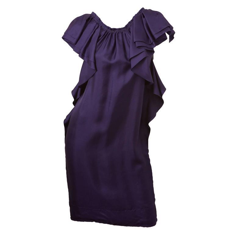 Lanvin Silk Purple Ruffle Dress