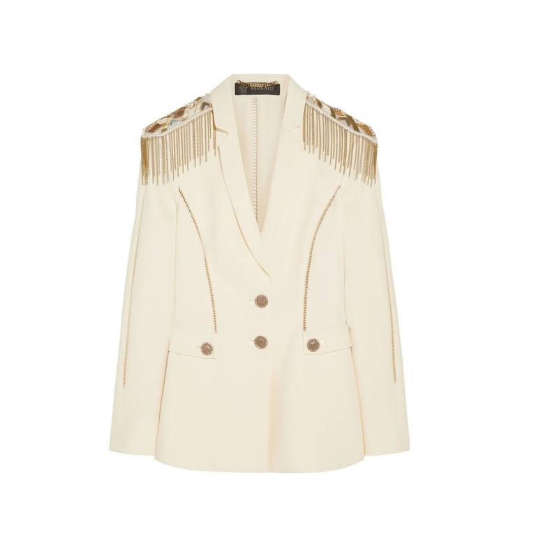 Versace Embellished silk-crepe blazer 1
