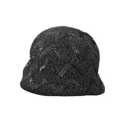 Bonwit Teller Black Beaded Hat