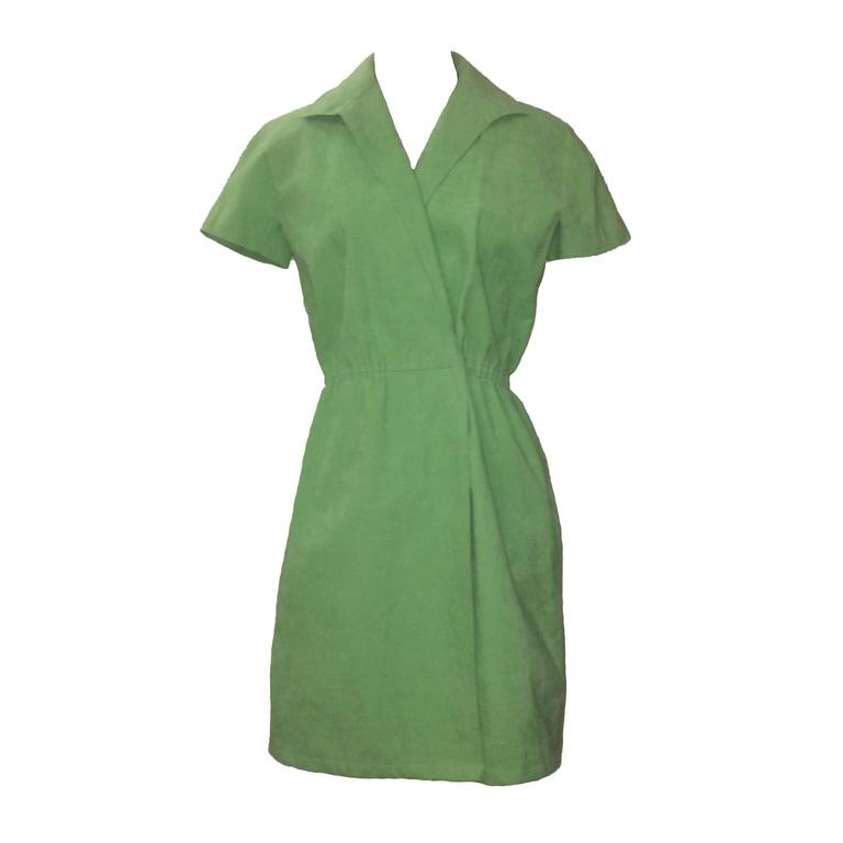 Halston 1970s Mint Green Ultra-Suede Dress For Sale
