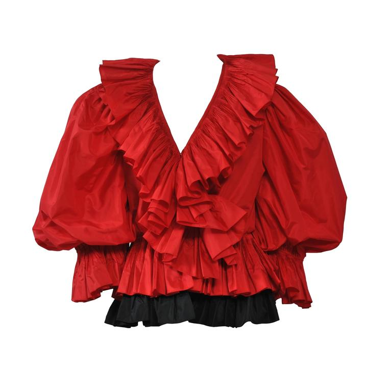 Red and Black Silk Ruffle Top 1