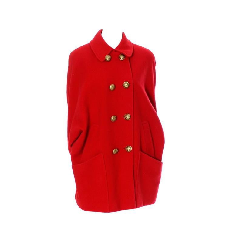 Guy Laroche Boutique 1980s Vintage Coat Red Wool Brass Buttons Dolman Sleeves For Sale