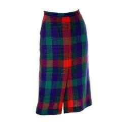 Missoni Vintage Skirt in Red Green Blue Plaid Wool From Neiman Marcus