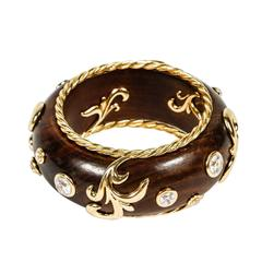 Beautiful Gilt Metal Rhinestone and Wood Bangle by Dominique Aurientis
